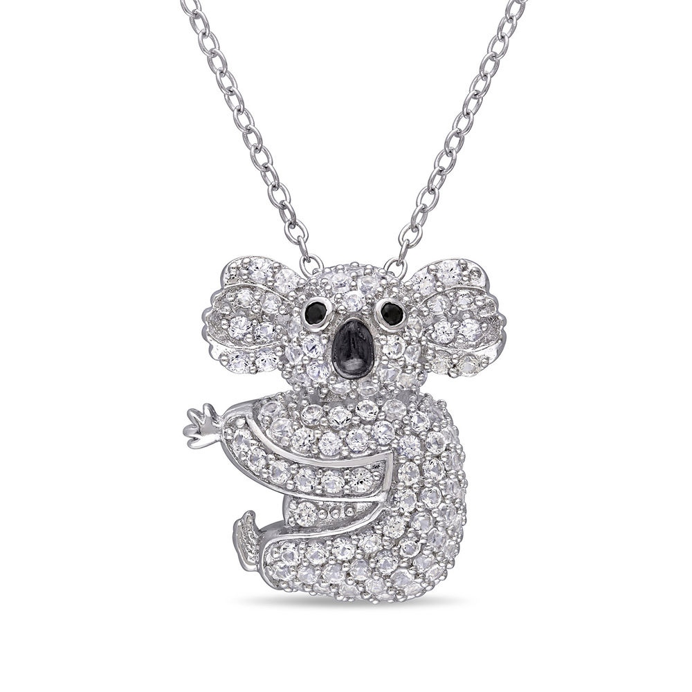 Koala Necklace with Lab-Created White Sapphire & Black Spinel in Sterling Silver and Rhodium Plated