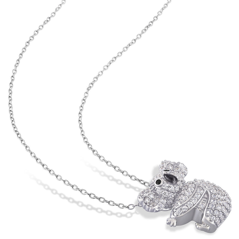 Koala Necklace with Lab-Created White Sapphire & Black Spinel in Sterling Silver and Rhodium Plated - 1