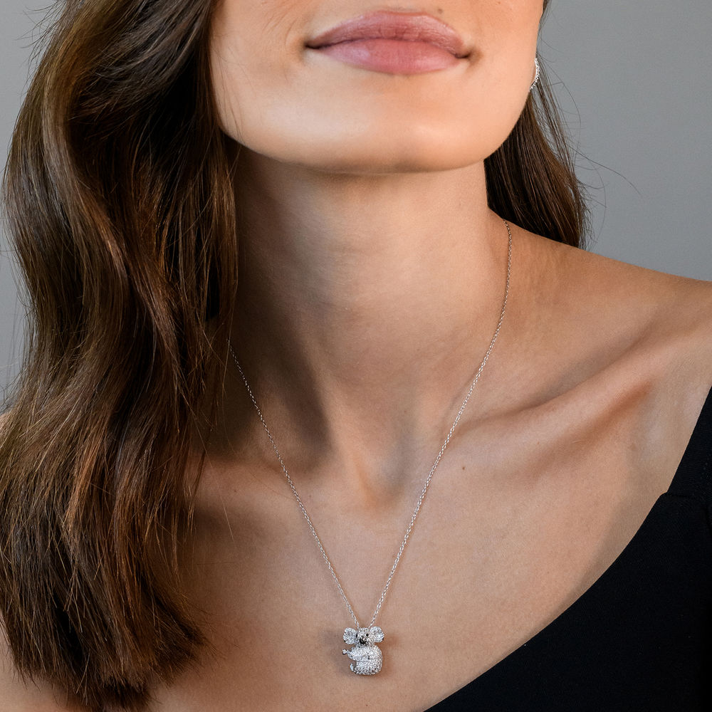 Koala Necklace with Lab-Created White Sapphire & Black Spinel in Sterling Silver and Rhodium Plated - 2