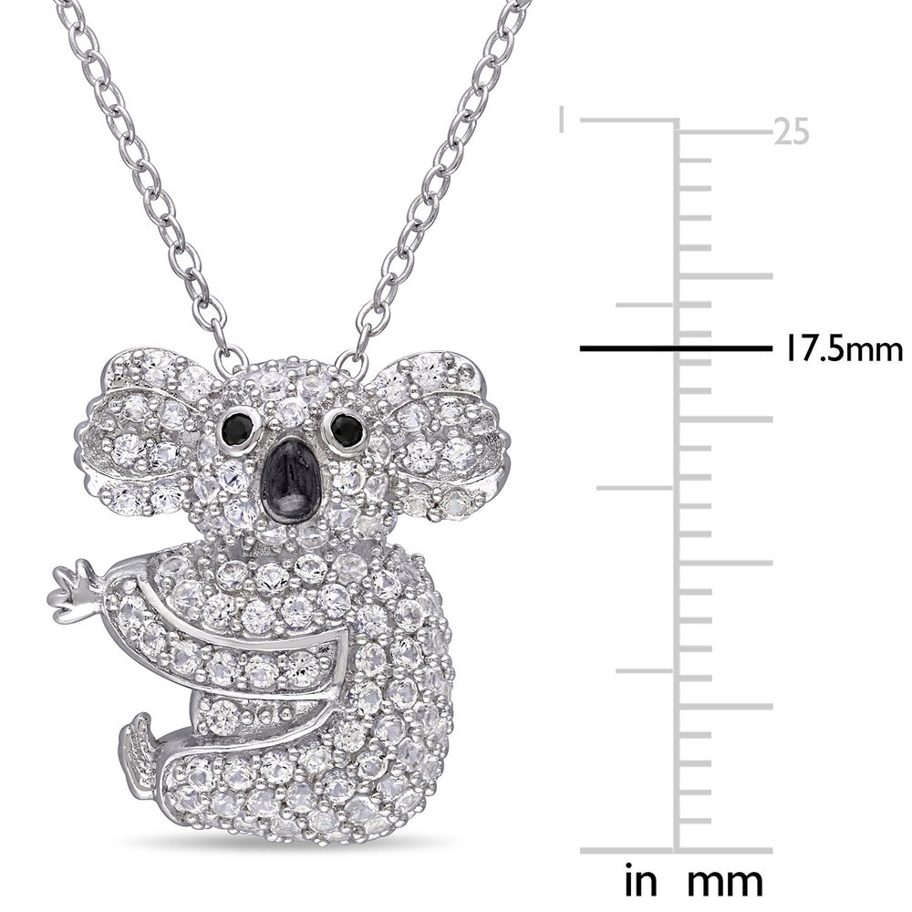 Koala Necklace with Lab-Created White Sapphire & Black Spinel in Sterling Silver and Rhodium Plated - 4