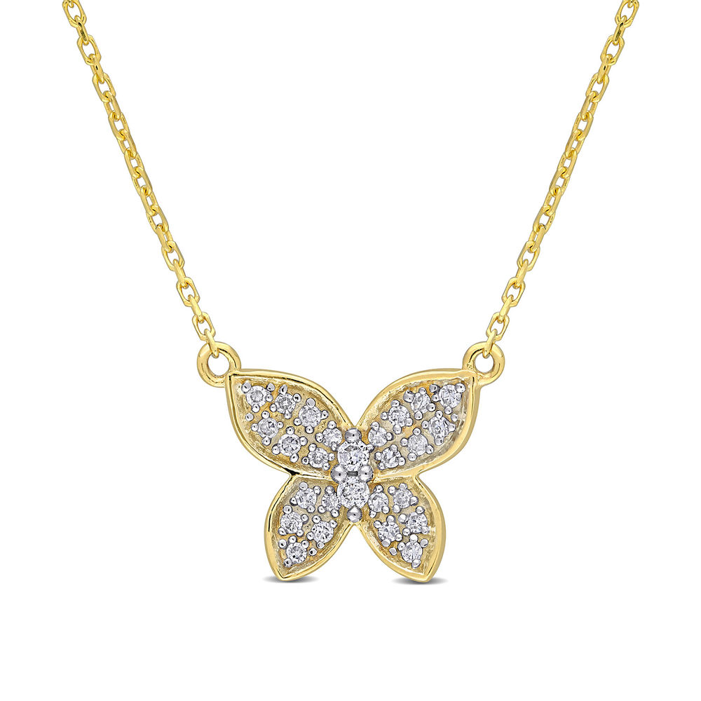 1/8 CT. T.W. Diamond Butterfly Necklace in 10k Yellow Gold