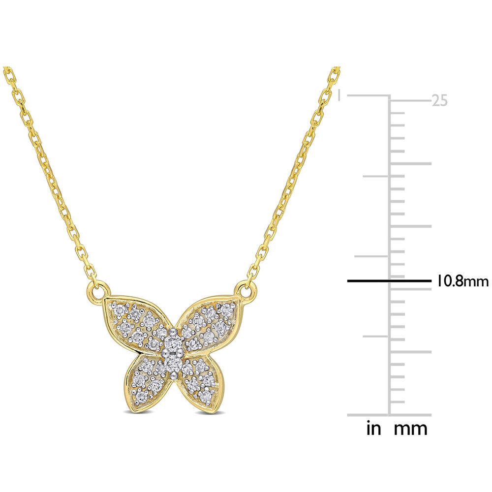 1/8 CT. T.W. Diamond Butterfly Necklace in 10k Yellow Gold - 4