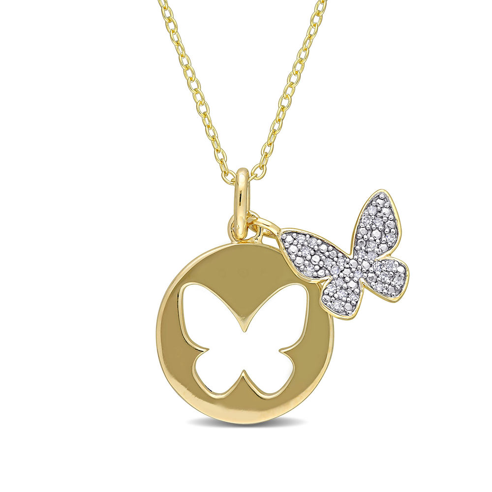 1/10 CT. T.W. Diamond Butterfly Necklace in Gold Plated Sterling Silver