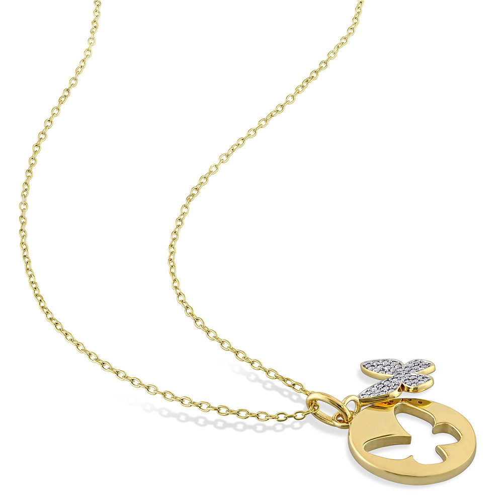 1/10 CT. T.W. Diamond Butterfly Necklace in Gold Plated Sterling Silver - 1