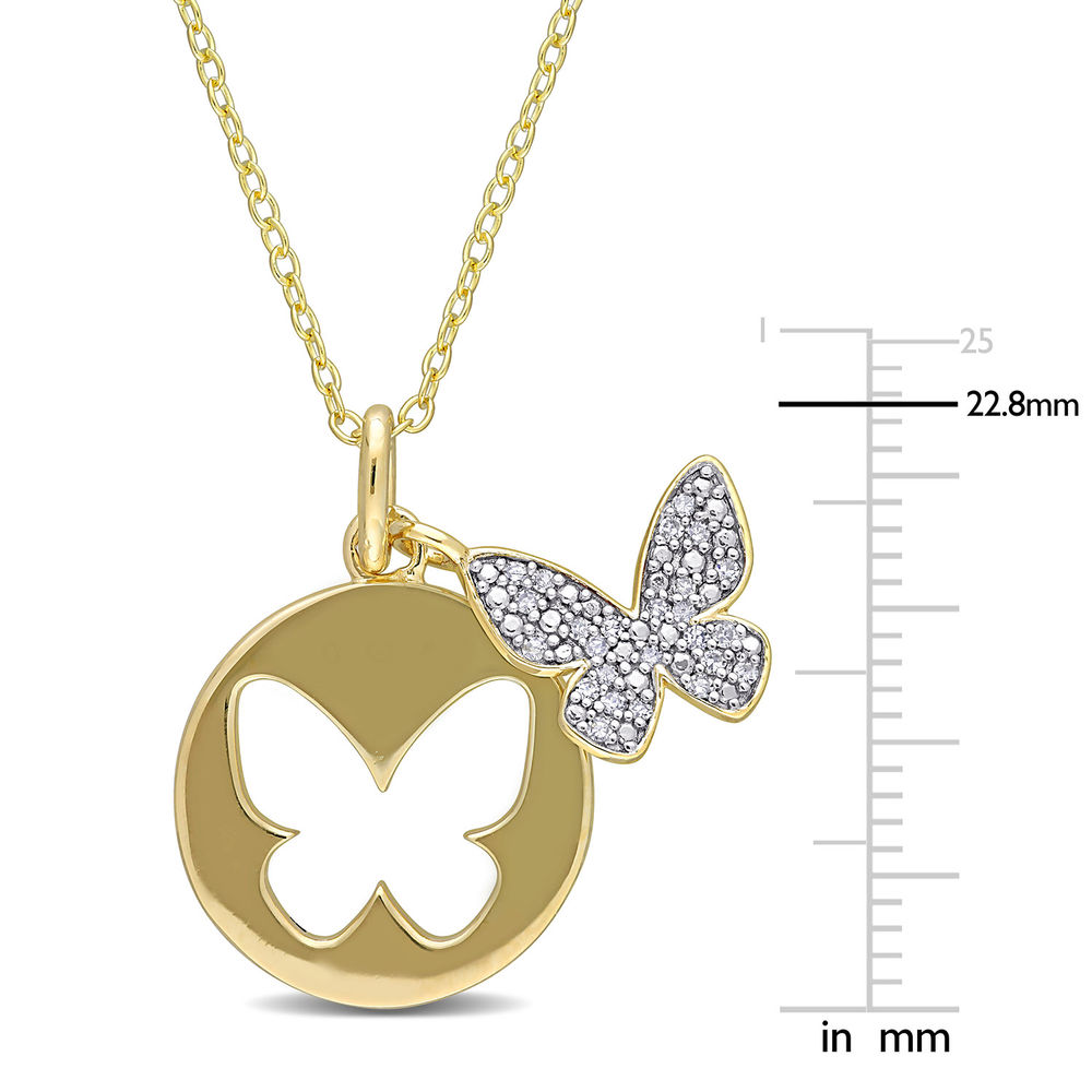 1/10 CT. T.W. Diamond Butterfly Necklace in Gold Plated Sterling Silver - 4