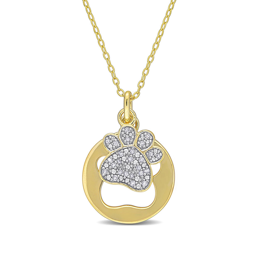 1/10 CT. T.W. Diamond Paw Necklace in Gold Plated Sterling Silver