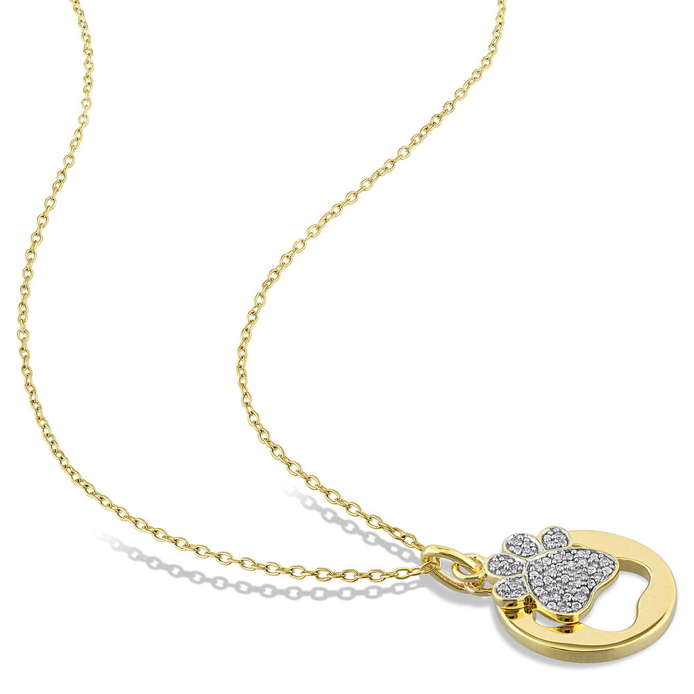 1/10 CT. T.W. Diamond Paw Necklace in Gold Plated Sterling Silver - 1