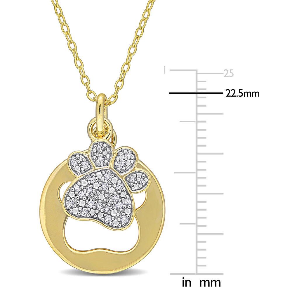 1/10 CT. T.W. Diamond Paw Necklace in Gold Plated Sterling Silver - 4