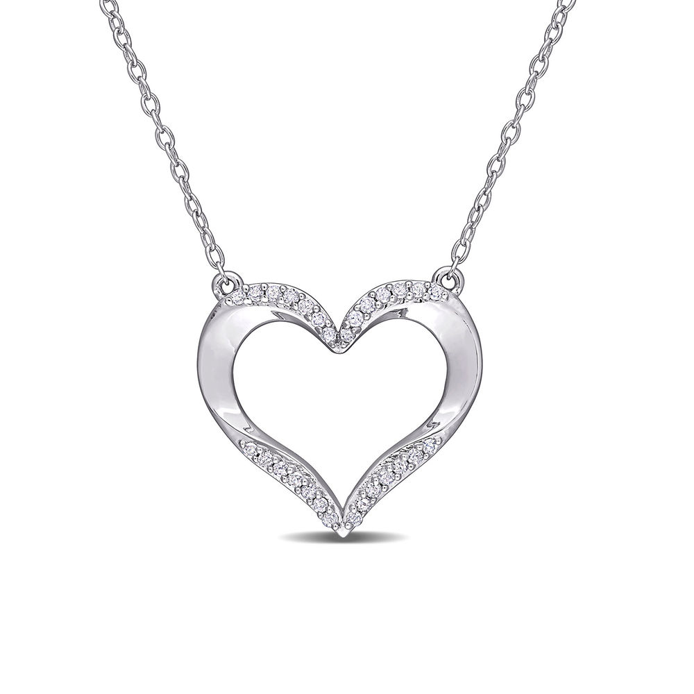 1/7 CT. T.W. Diamond Heart Necklace Pendant in Sterling Silver