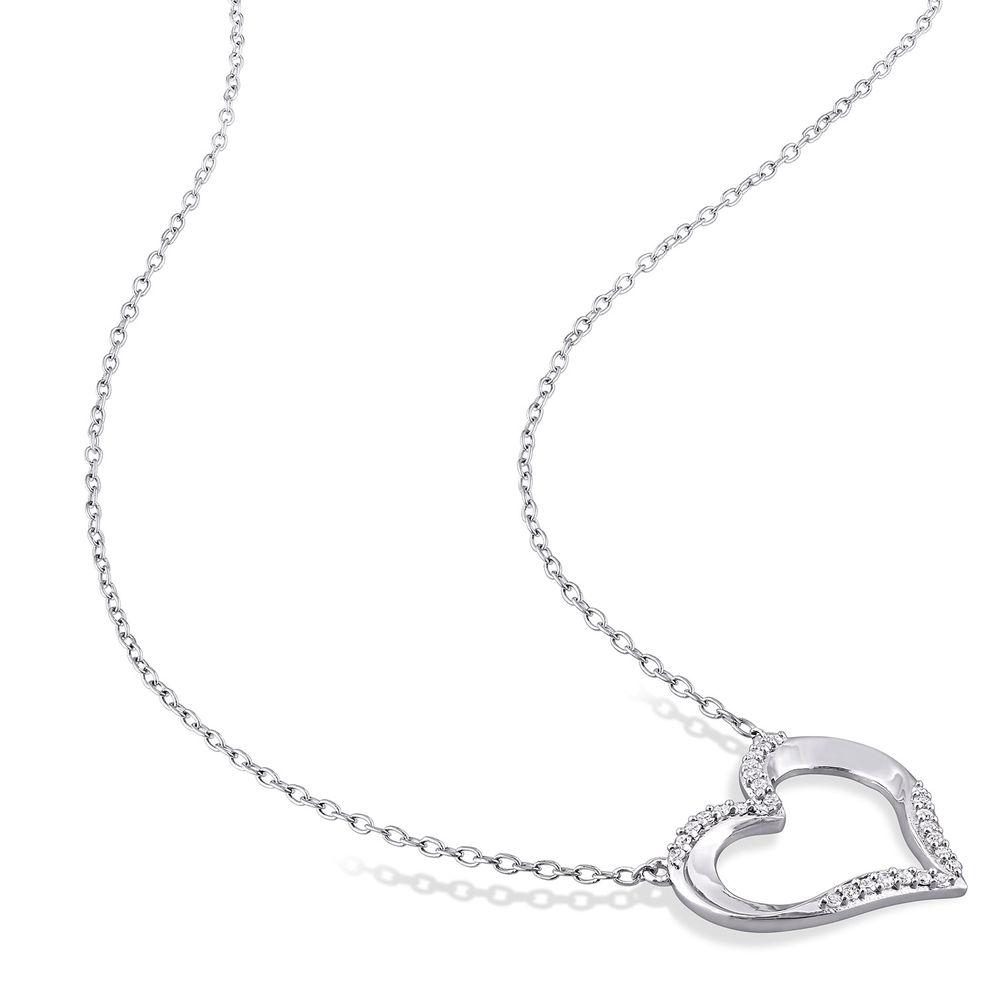 1/7 CT. T.W. Diamond Heart Necklace Pendant in Sterling Silver - 1