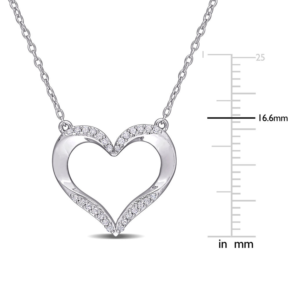 1/7 CT. T.W. Diamond Heart Necklace Pendant in Sterling Silver - 4