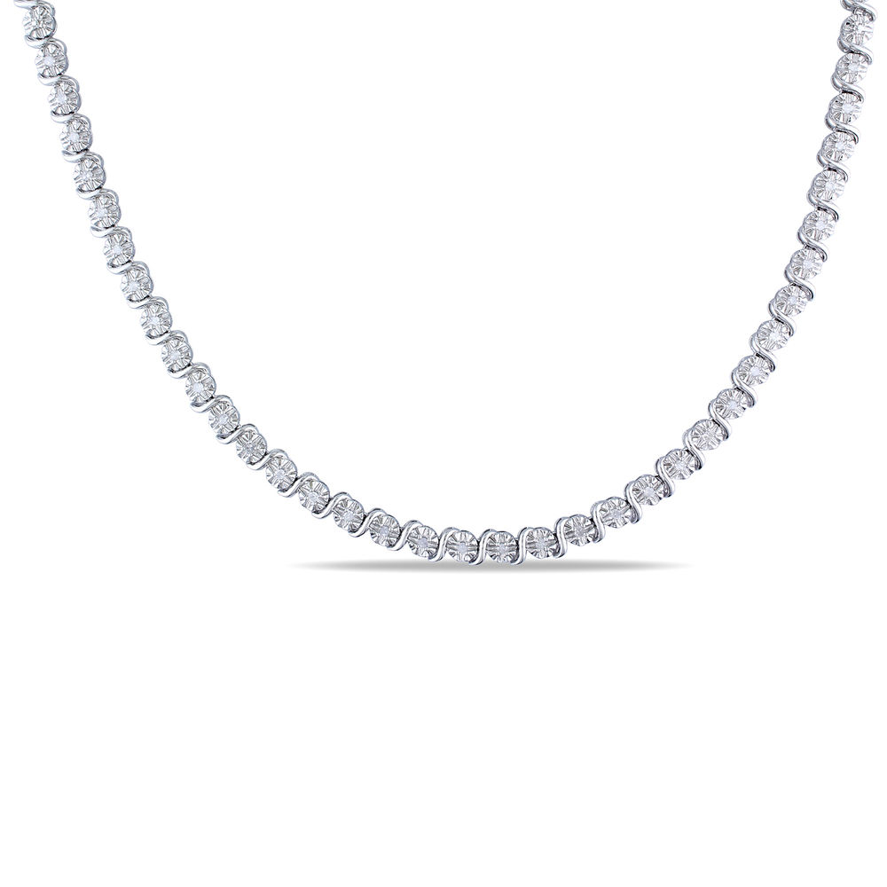 1/2 C.T T.W. Diamond Tennis Necklace in Sterling Silver