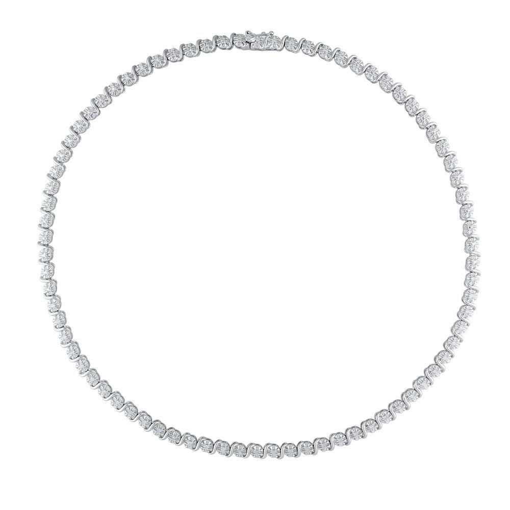 1/2 C.T T.W. Diamond Tennis Necklace in Sterling Silver - 2