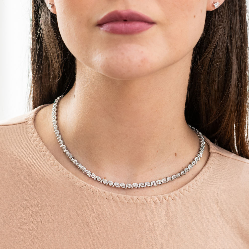 1/2 C.T T.W. Diamond Tennis Necklace in Sterling Silver - 3
