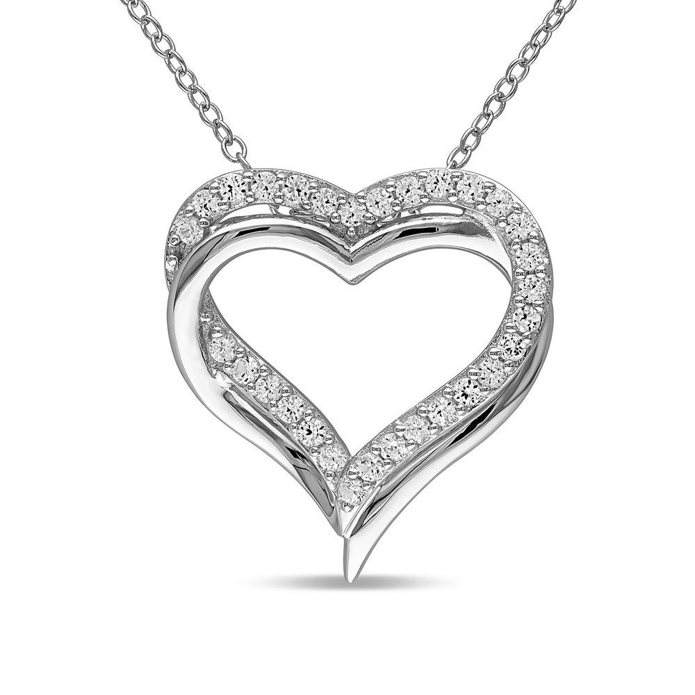 5/8 C.T T.G.W. Lab-grown White Sapphire Heart Pendant in Sterling Silver