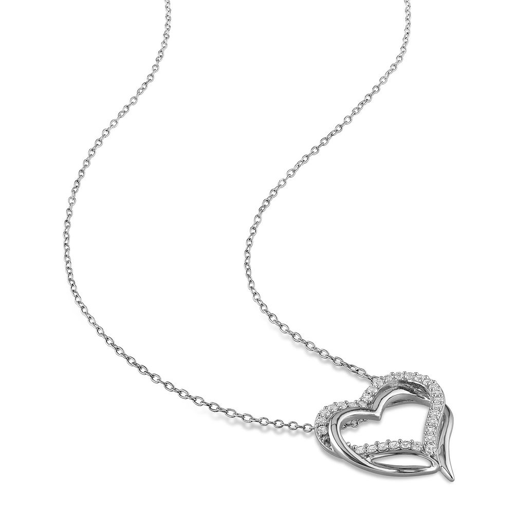 5/8 C.T T.G.W. Lab-grown White Sapphire Heart Pendant in Sterling Silver - 1