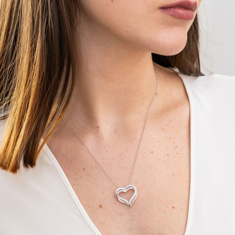 5/8 C.T T.G.W. Lab-grown White Sapphire Heart Pendant in Sterling Silver - 3