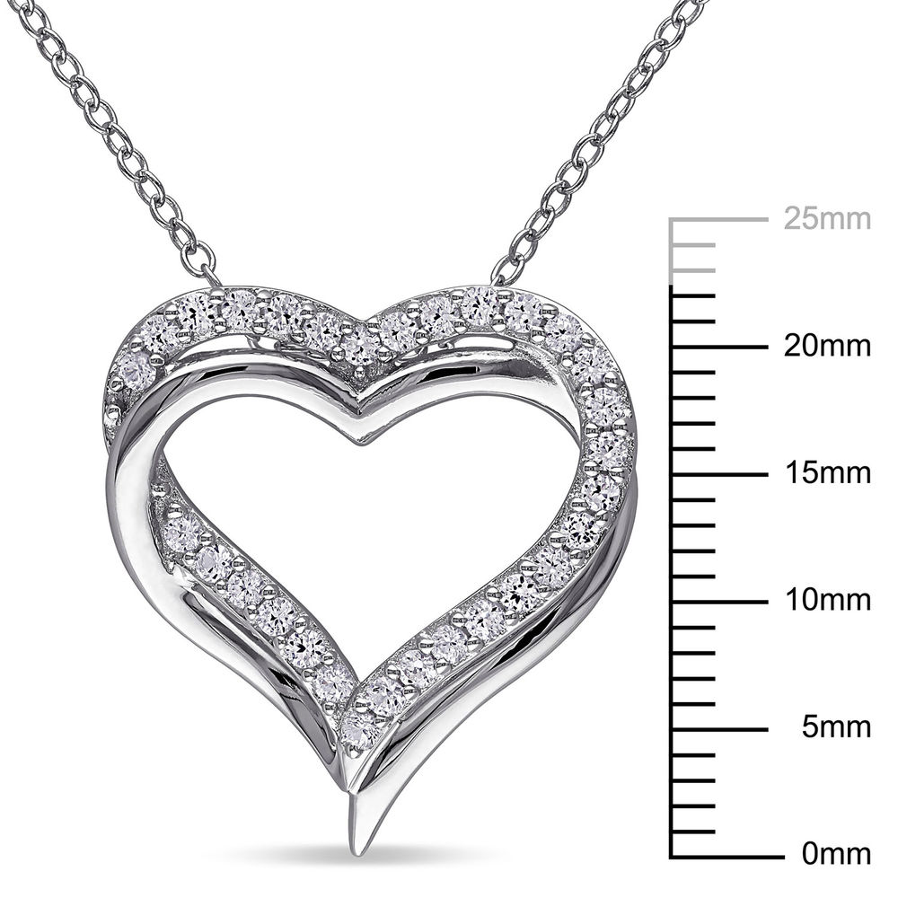 5/8 C.T T.G.W. Lab-grown White Sapphire Heart Pendant in Sterling Silver - 5