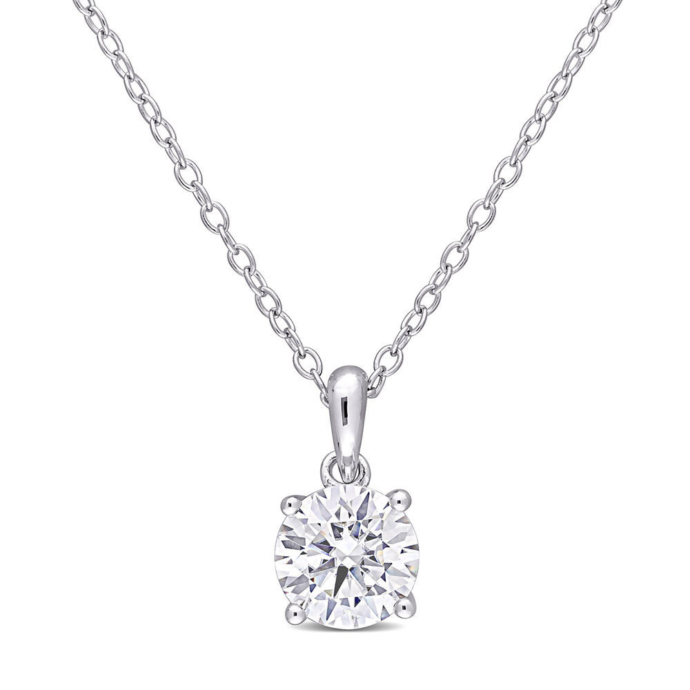 1 C.T T.G.W. Moissanite Solitaire Pendant in Sterling Silver