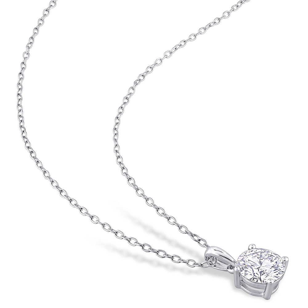 1 C.T T.G.W. Moissanite Solitaire Pendant in Sterling Silver - 1