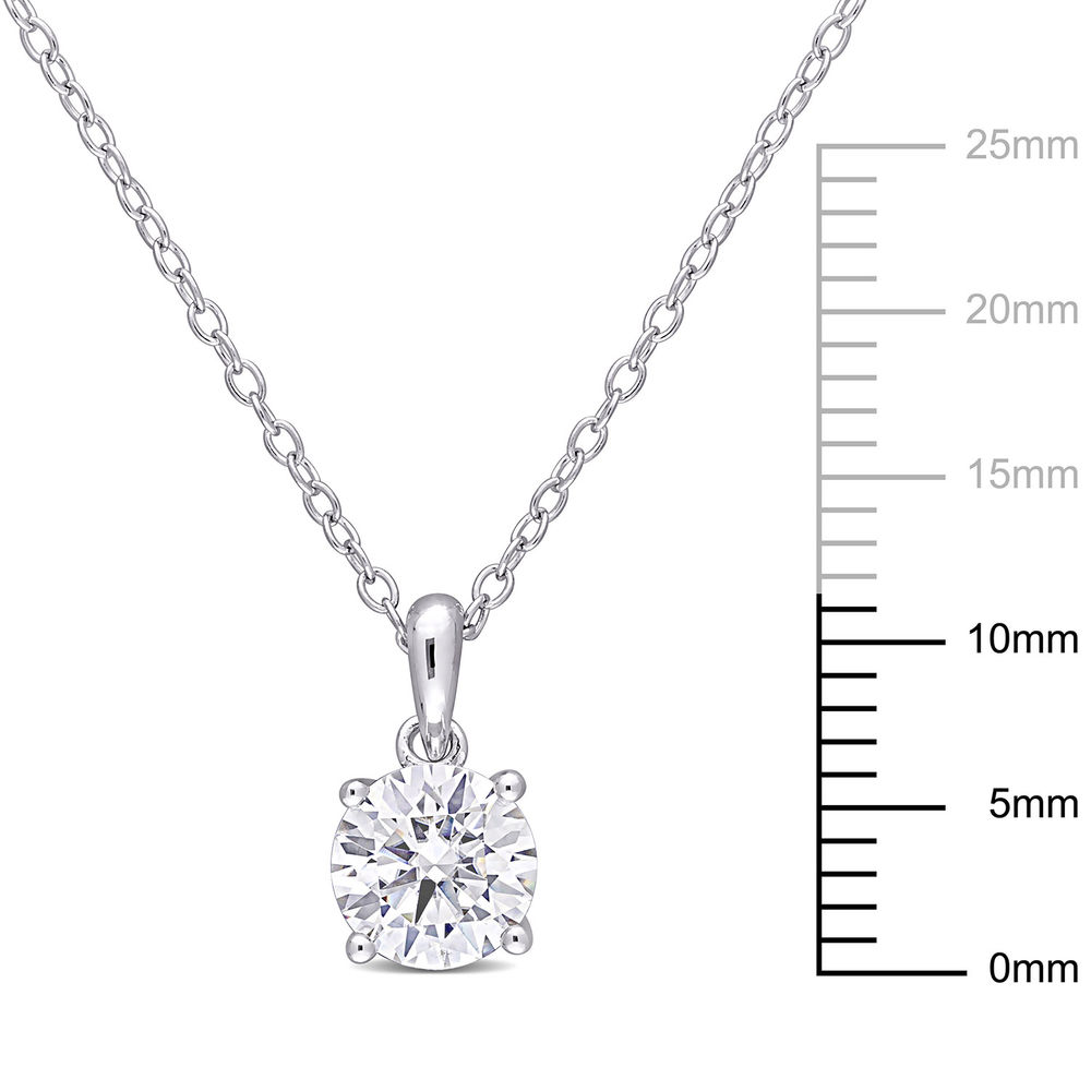 1 C.T T.G.W. Moissanite Solitaire Pendant in Sterling Silver - 4