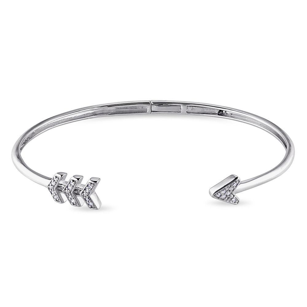 1/10 CT. T.W. Diamond Boho Cuff Bangle in Sterling Silver