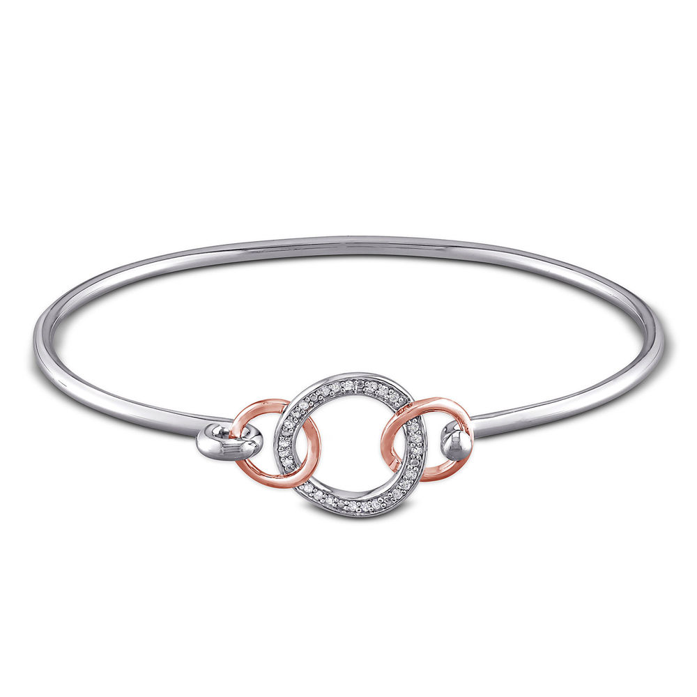 1/10 CT. T.W. Diamond Infinity Circle Bangle in Sterling Silver with Rose Gold Plated details