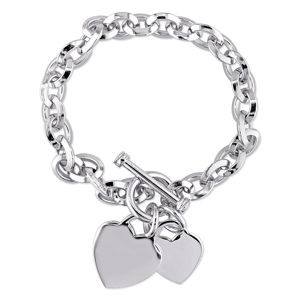Oval Link Bracelet with Sterling Silver Heart Charms & Toggle Clasp