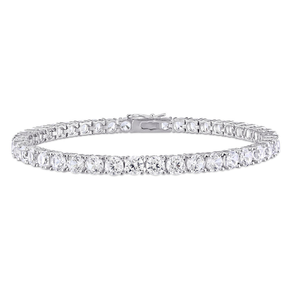 4.0mm Round Lab-Created White Sapphire Tennis Bracelet in Sterling Silver