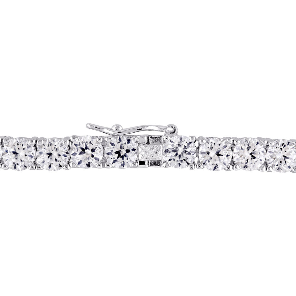 4.0mm Round Lab-Created White Sapphire Tennis Bracelet in Sterling Silver - 1