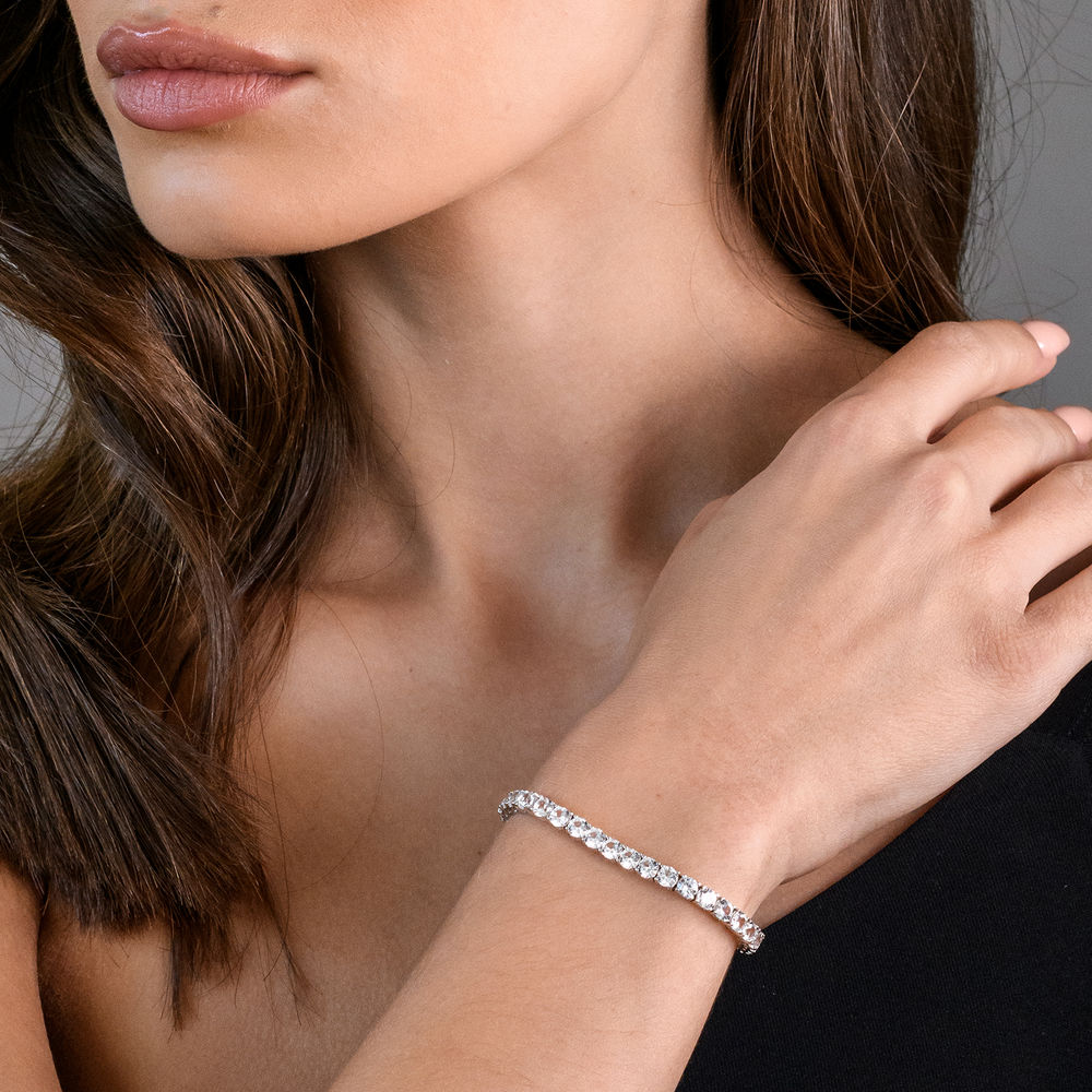 4.0mm Round Lab-Created White Sapphire Tennis Bracelet in Sterling Silver - 2