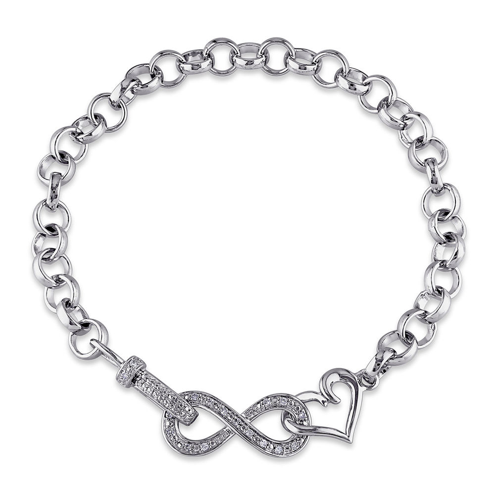 1/10 CT. T.W. Diamond Forever Love Bracelet in Sterling Silver