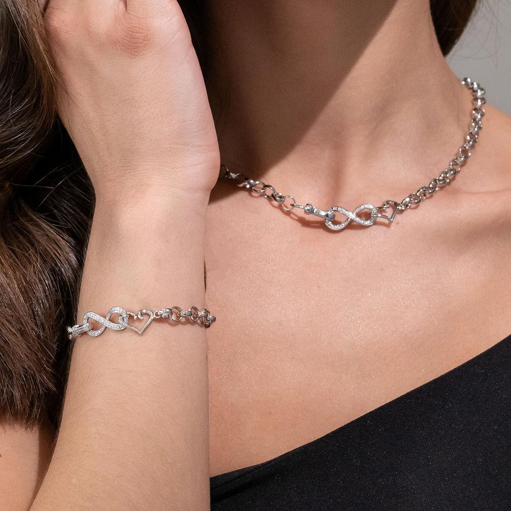 1/10 CT. T.W. Diamond Forever Love Bracelet in Sterling Silver - 2