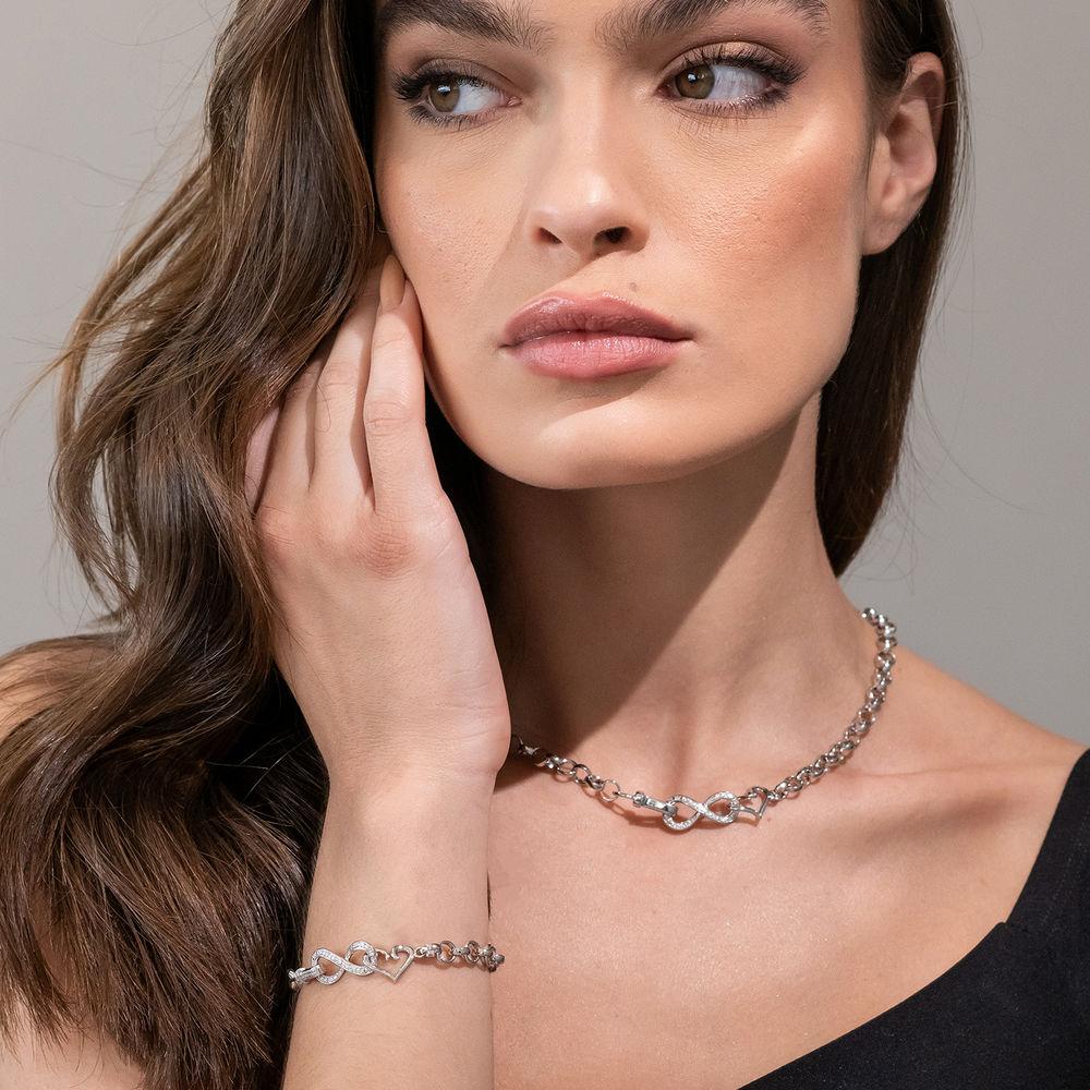1/10 CT. T.W. Diamond Forever Love Bracelet in Sterling Silver - 3