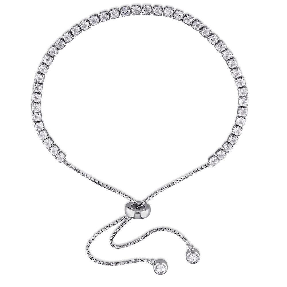 2.5mm White Topaz Bolo Bracelet in Sterling Silver
