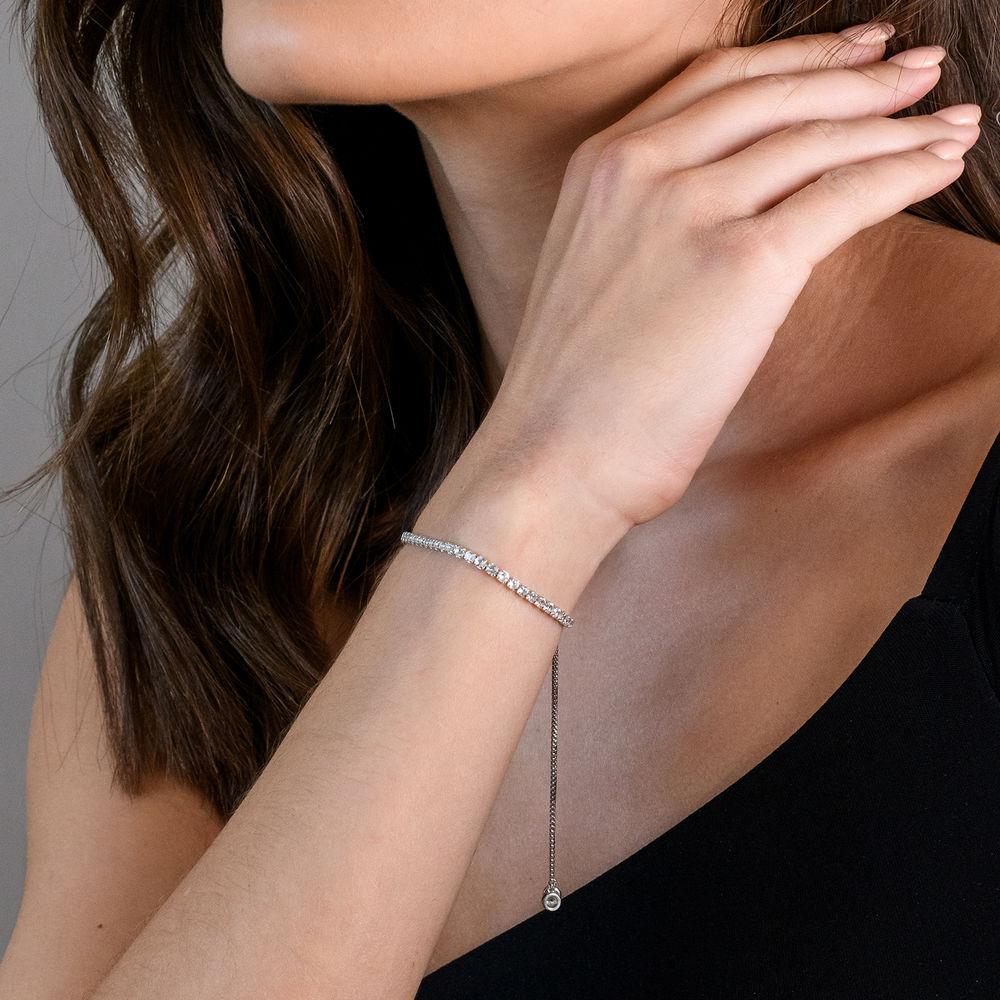 2.5mm White Topaz Bolo Bracelet in Sterling Silver - 2