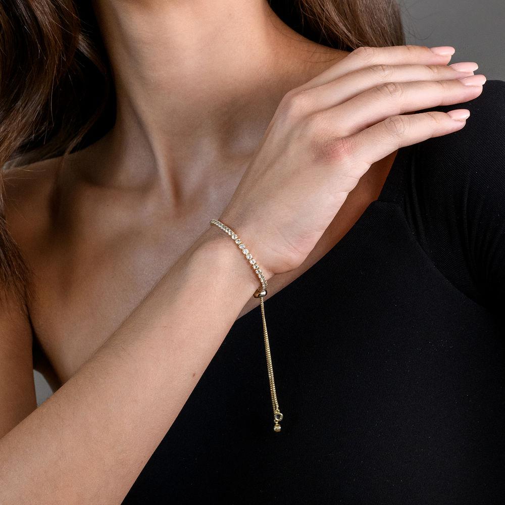 2.5mm White Topaz Bolo Bracelet in Gold Plated Sterling Silver - 2
