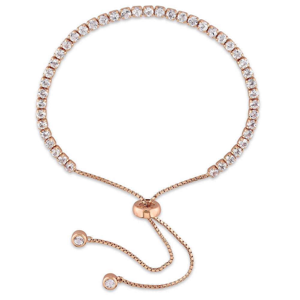 2.5mm White Topaz Bolo Bracelet in Rose Gold Plated Sterling Silver