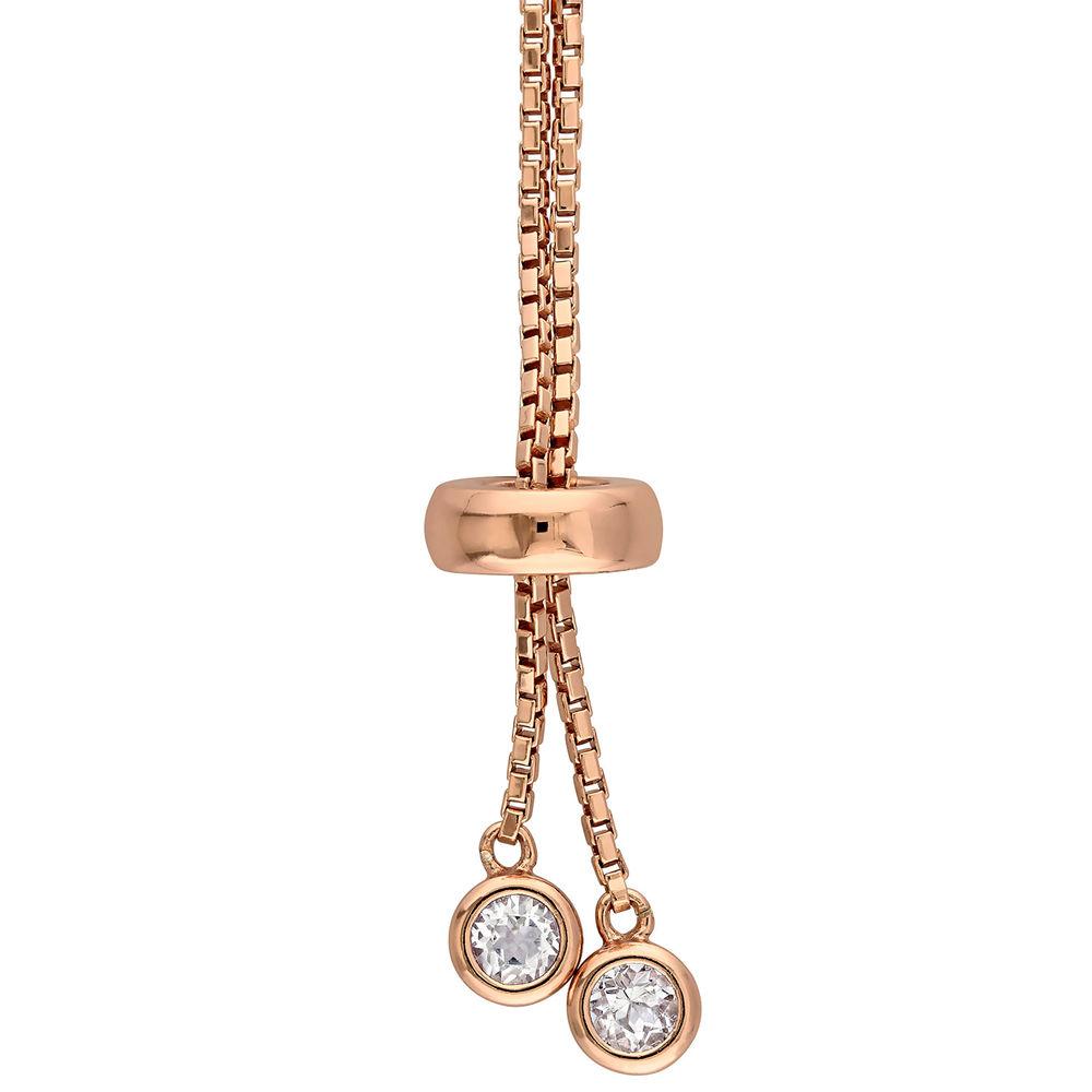 2.5mm White Topaz Bolo Bracelet in Rose Gold Plated Sterling Silver - 1
