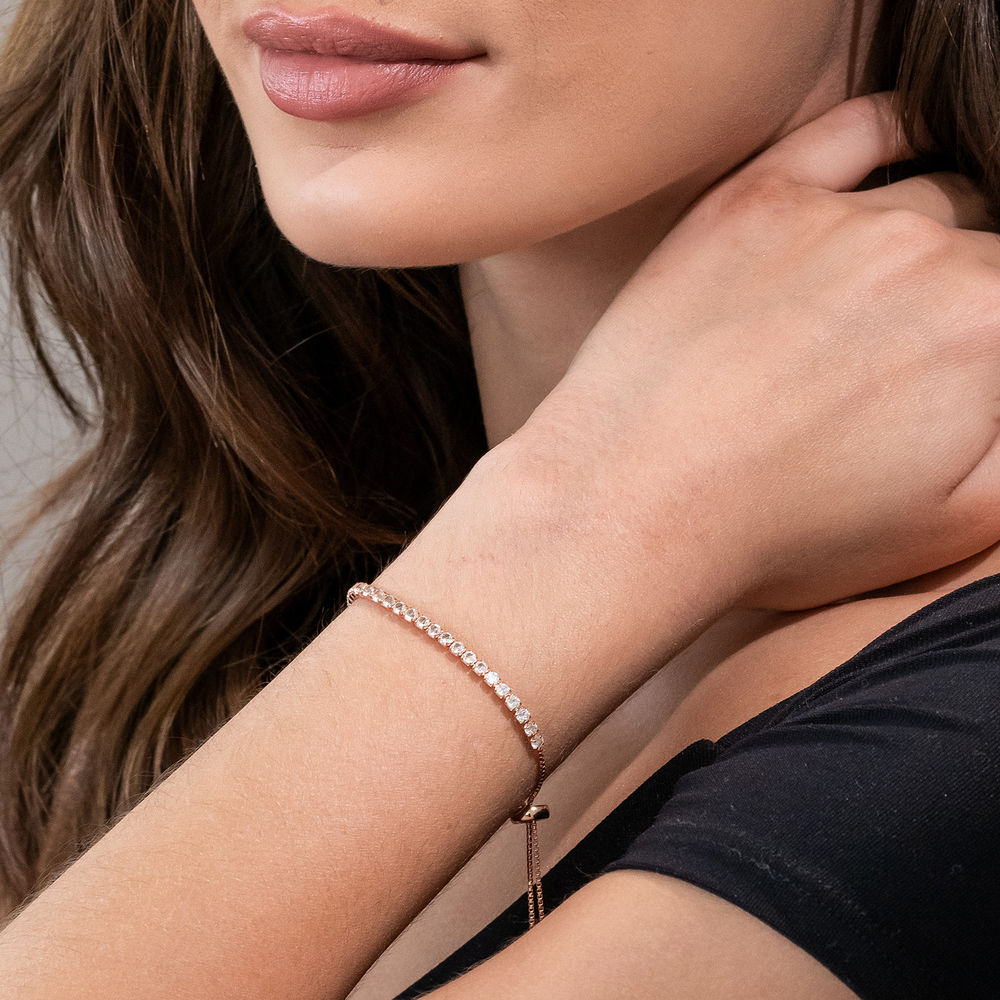 2.5mm White Topaz Bolo Bracelet in Rose Gold Plated Sterling Silver - 2