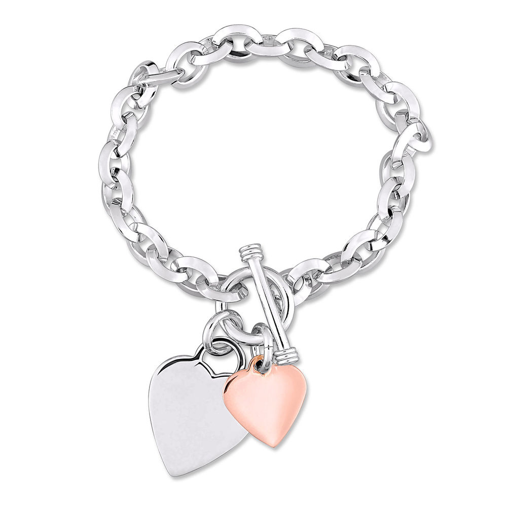 Oval Link Bracelet with Sterling Silver and Rose Gold Plated Heart Charms & Toggle Clasp