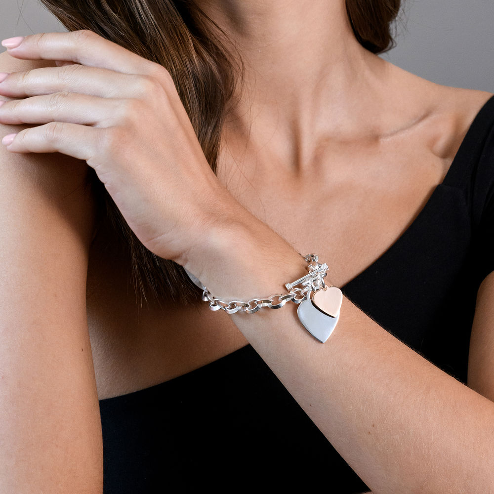 Oval Link Bracelet with Sterling Silver and Rose Gold Plated Heart Charms & Toggle Clasp - 1