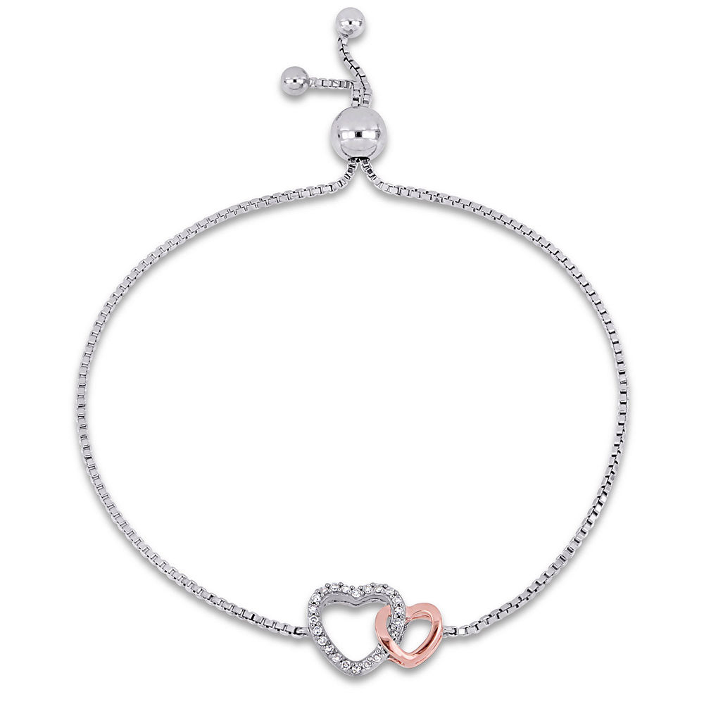 1/10 CT. T.W. Diamond Interlocked Hearts Bolo Bracelet in Sterling Silver and Rose Gold Plated