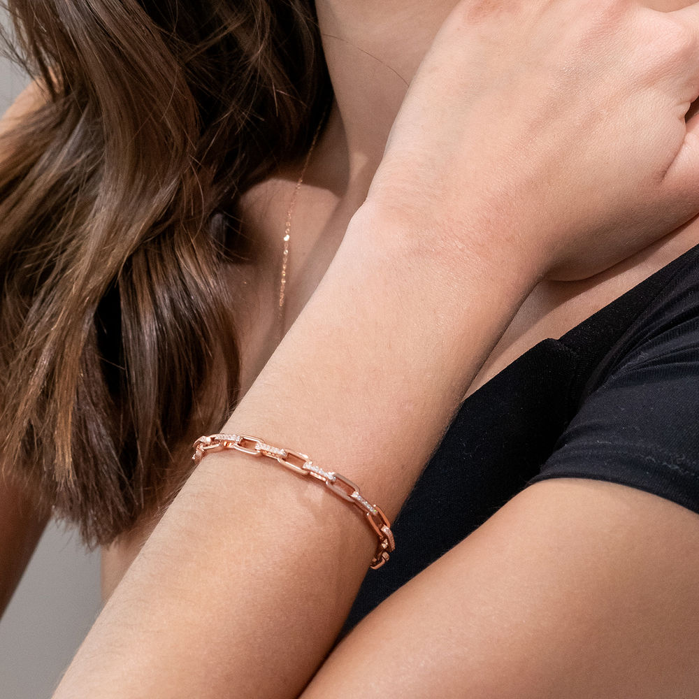 Link Bracelet with Cubic Zirconia in Rose Gold Plated Sterling Silver - 2
