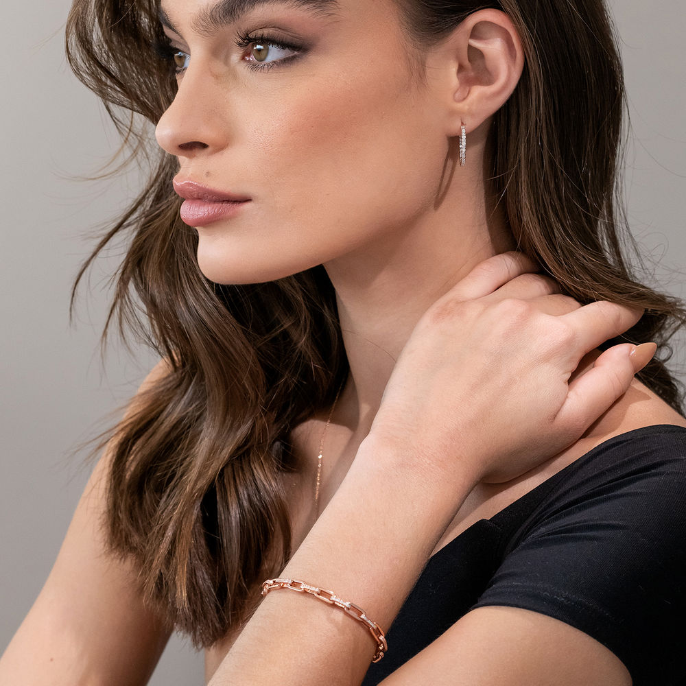 Link Bracelet with Cubic Zirconia in Rose Gold Plated Sterling Silver - 3