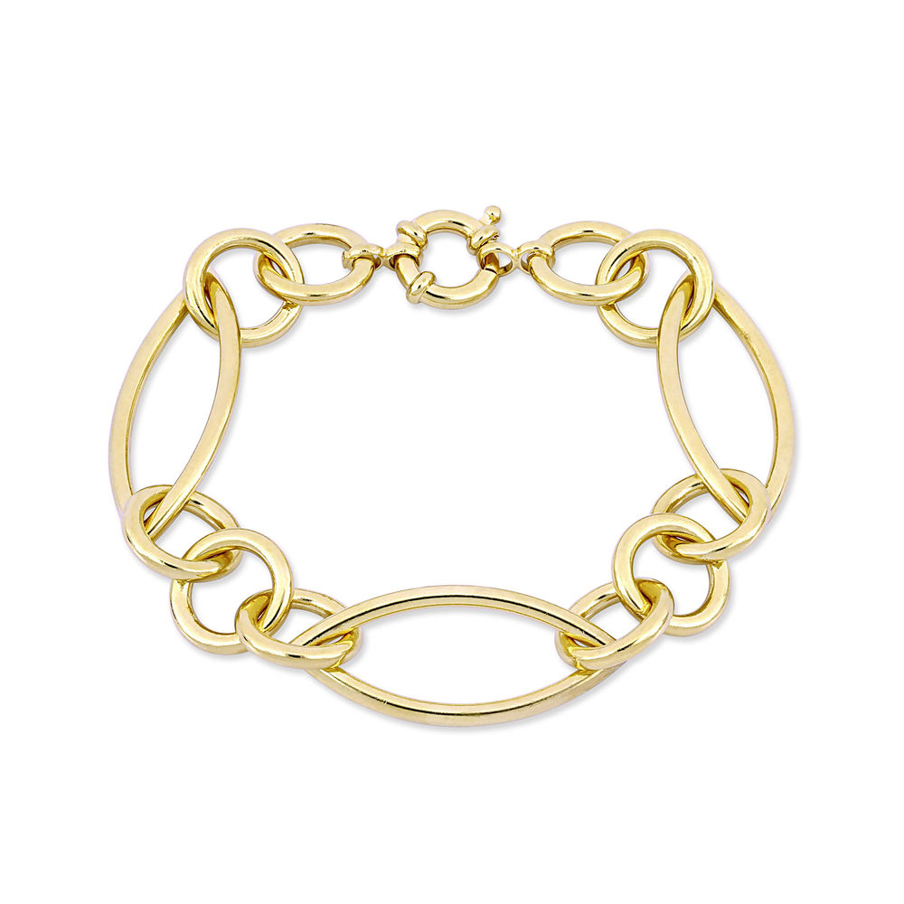 Fancy Link Bracelet in Gold Plated Sterling Silver with Big Stylish Spring Ring Clasp
