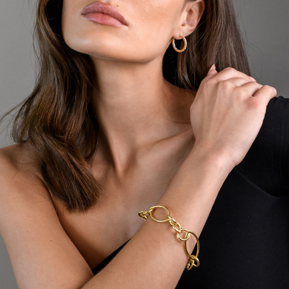 Fancy Link Bracelet in Gold Plated Sterling Silver with Big Stylish Spring Ring Clasp - 2