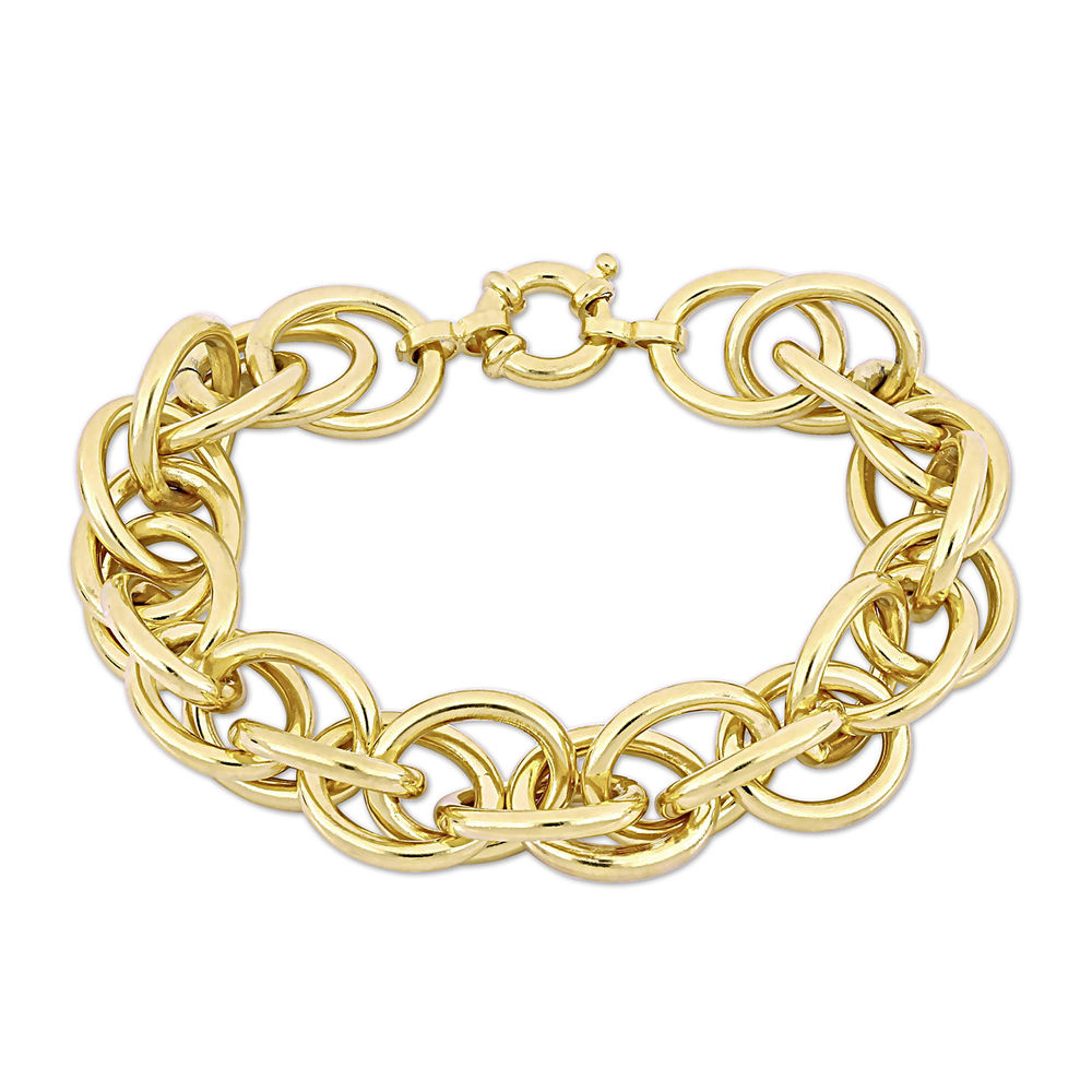 Oval Link Bracelet in Gold Plated Sterling Silver with Big Stylish Spring Ring Clasp