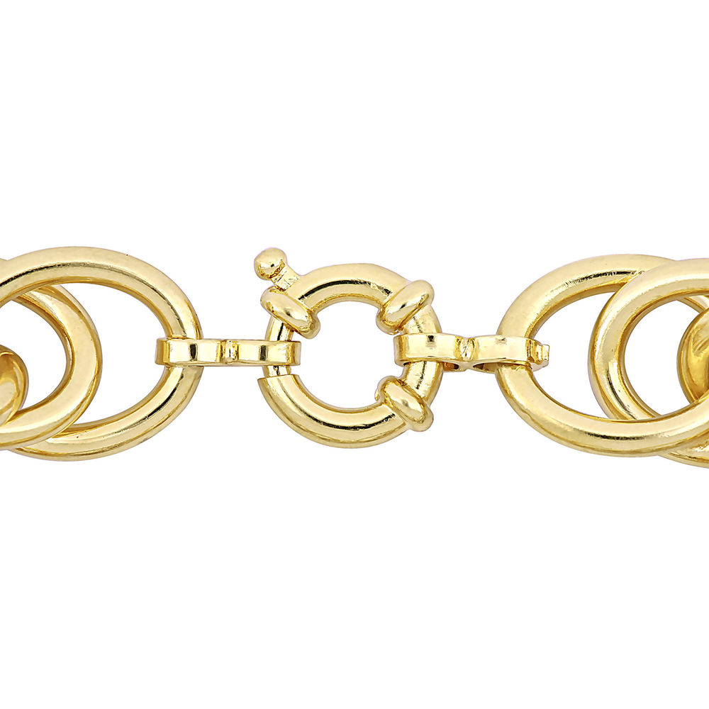 Oval Link Bracelet in Gold Plated Sterling Silver with Big Stylish Spring Ring Clasp - 1