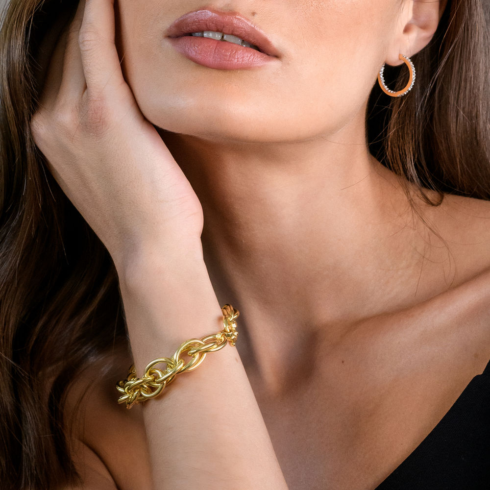 Oval Link Bracelet in Gold Plated Sterling Silver with Big Stylish Spring Ring Clasp - 3